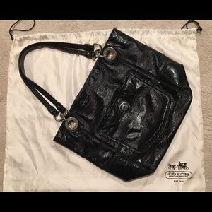 Coach Black patent Alex tote with silver detail.